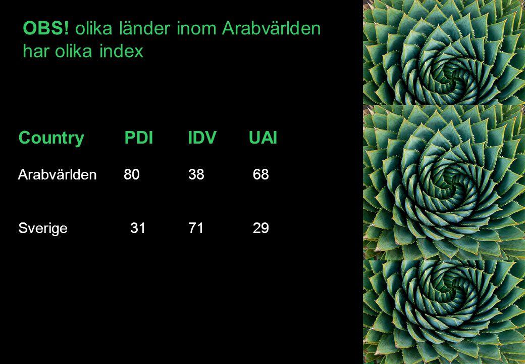 Country PDI IDV UAI Arabvärlden 80 38 68 Sverige 31 71 29 OBS! olika länder inom Arabvärlden har olika index
