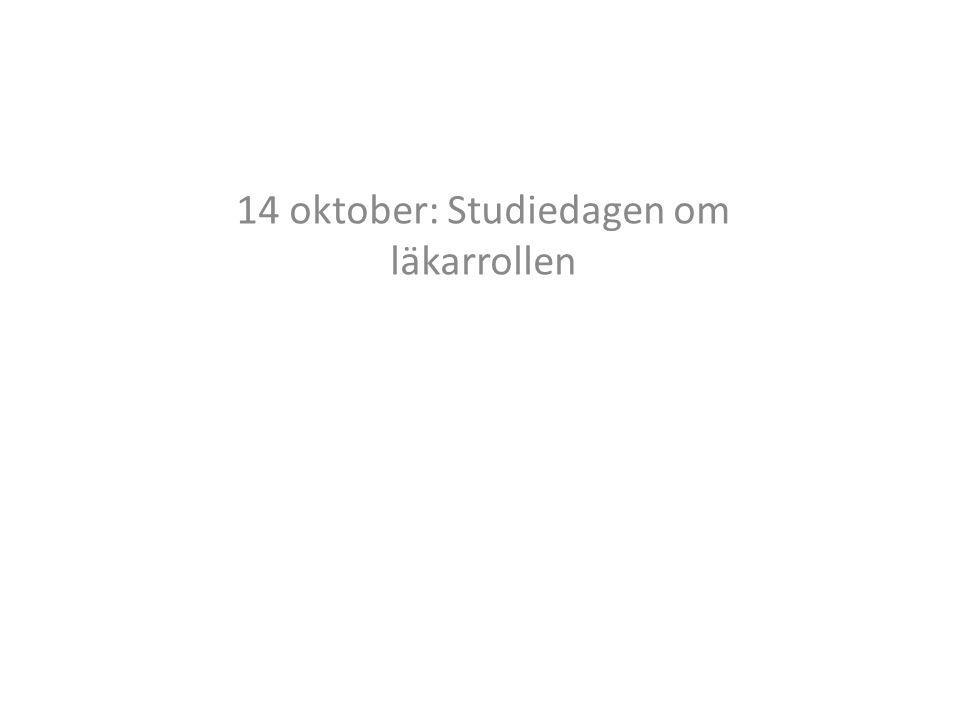 14 oktober: Studiedagen om läkarrollen