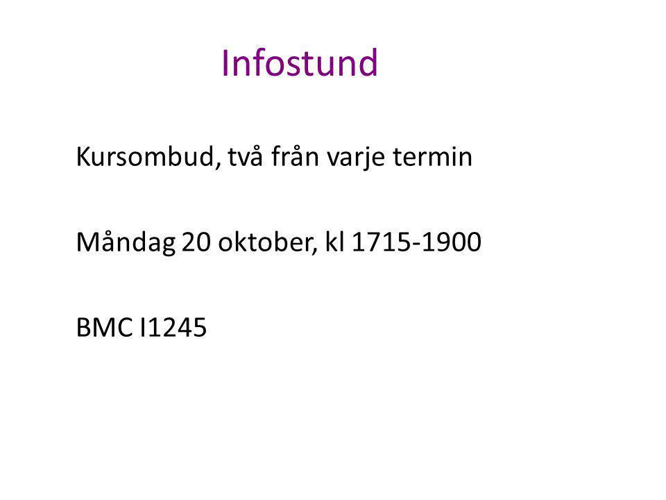 Infostund Kursombud, två från varje termin Måndag 20 oktober, kl 1715-1900 BMC I1245