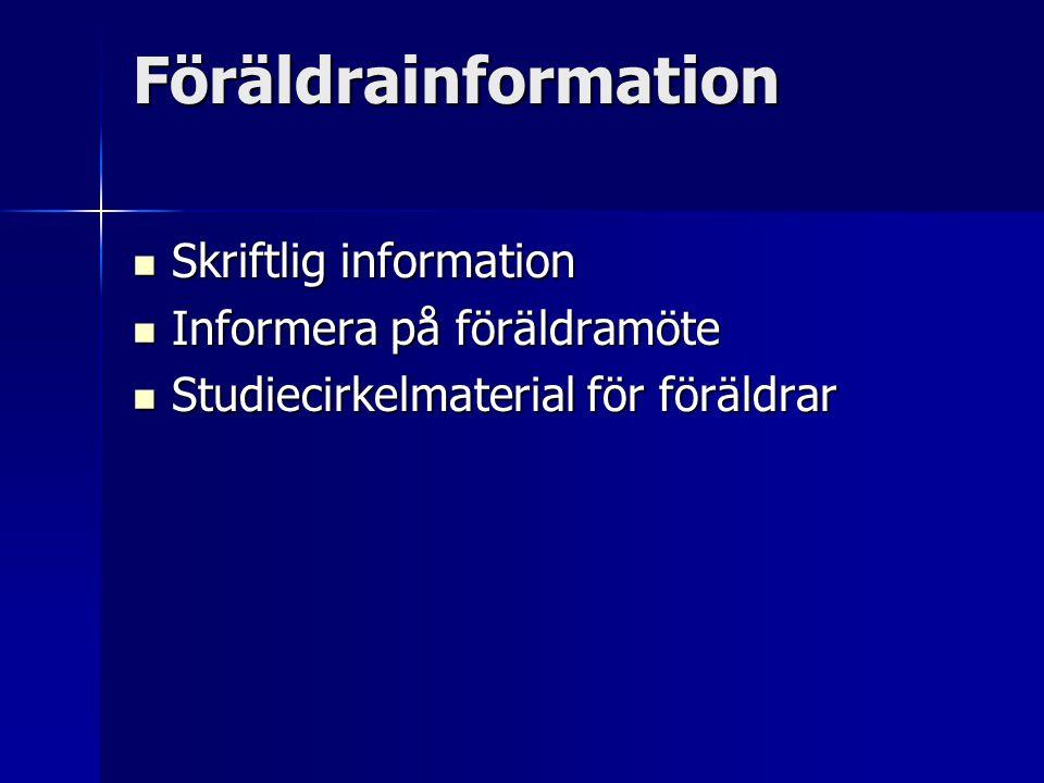 Föräldrainformation Skriftlig information Skriftlig information Informera på föräldramöte Informera på föräldramöte Studiecirkelmaterial för föräldrar