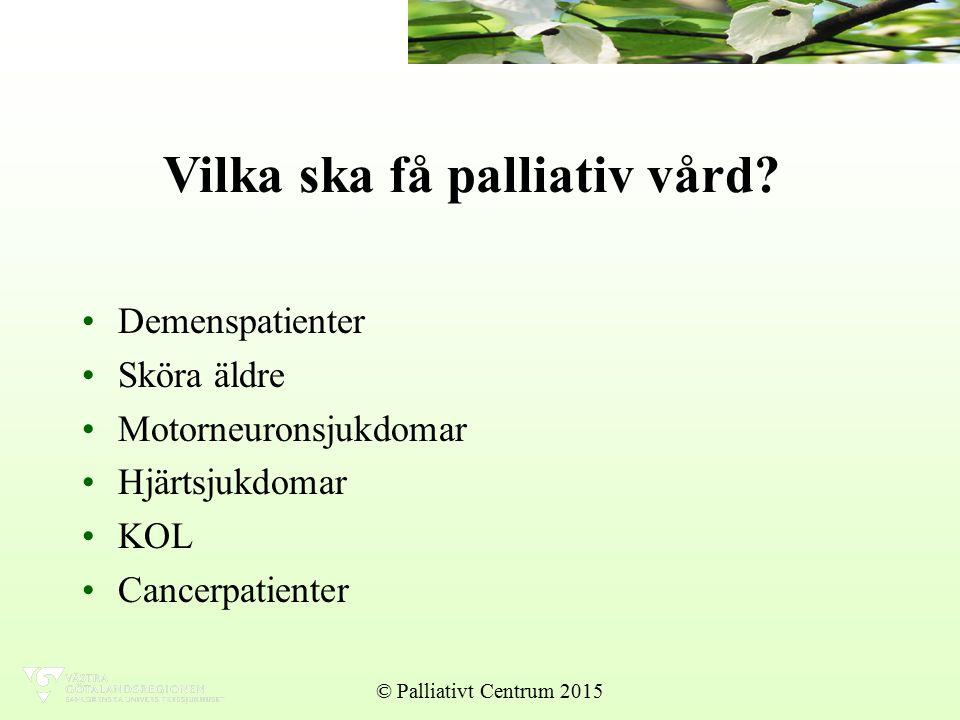Vilka ska få palliativ vård.