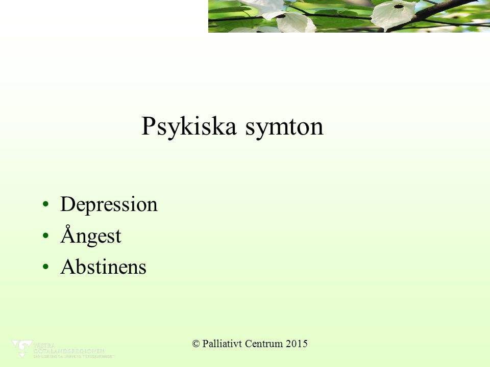 Psykiska symton Depression Ångest Abstinens © Palliativt Centrum 2015