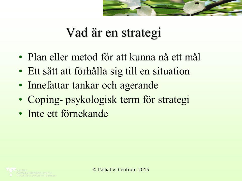 Vad är en strategi Plan eller metod för att kunna nå ett mål Ett sätt att förhålla sig till en situation Innefattar tankar och agerande Coping- psykologisk term för strategi Inte ett förnekande © Palliativt Centrum 2015