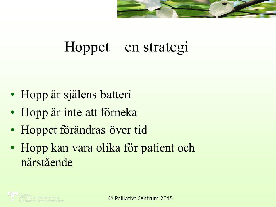 Hoppet – en strategi Hopp är själens batteri Hopp är inte att förneka Hoppet förändras över tid Hopp kan vara olika för patient och närstående © Palliativt Centrum 2015