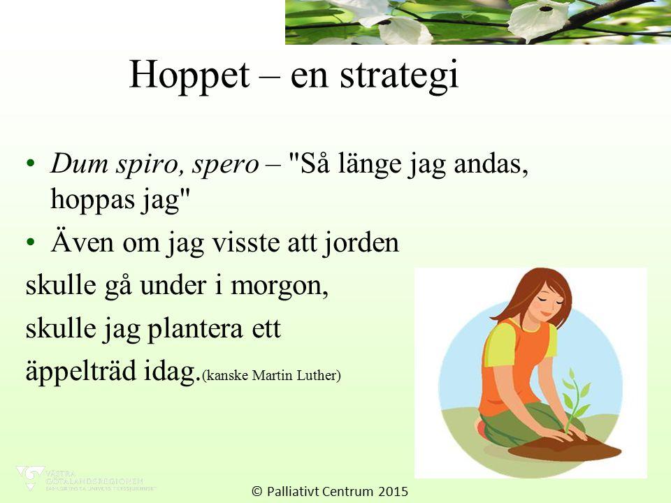 Hoppet – en strategi Dum spiro, spero – Så länge jag andas, hoppas jag Även om jag visste att jorden skulle gå under i morgon, skulle jag plantera ett äppelträd idag.
