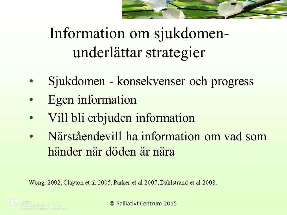 Information om sjukdomen- underlättar strategier Sjukdomen - konsekvenser och progress Egen information Vill bli erbjuden information Närståendevill ha information om vad som händer när döden är nära Wong, 2002, Clayton et al 2005, Parker et al 2007, Dahlstrand et al 2008.