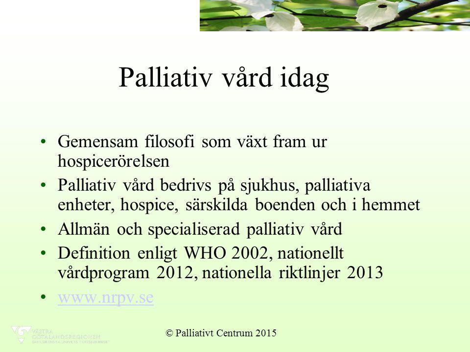 Fysiska symtom Smärta Illamående Andningssymtom © Palliativt Centrum 2015