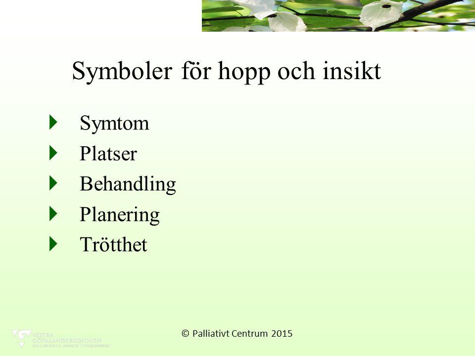 Symboler för hopp och insikt  Symtom  Platser  Behandling  Planering  Trötthet © Palliativt Centrum 2015