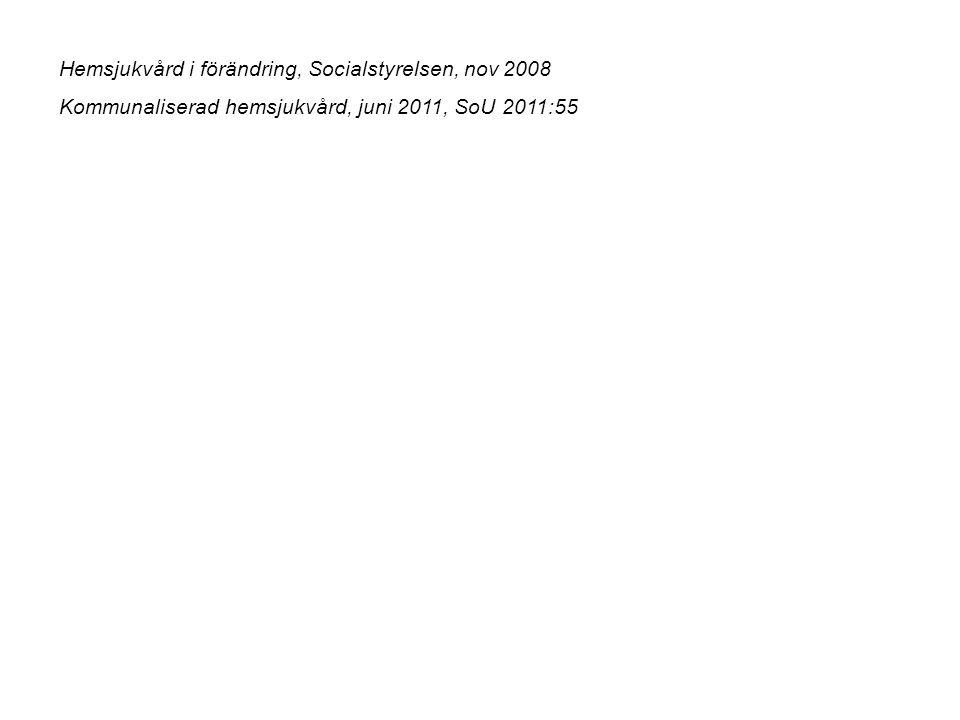 Hemsjukvård i förändring, Socialstyrelsen, nov 2008 Kommunaliserad hemsjukvård, juni 2011, SoU 2011:55