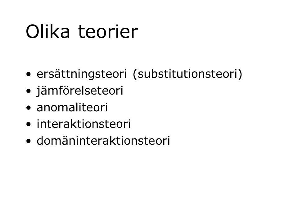 Olika teorier ersättningsteori (substitutionsteori) jämförelseteori anomaliteori interaktionsteori domäninteraktionsteori