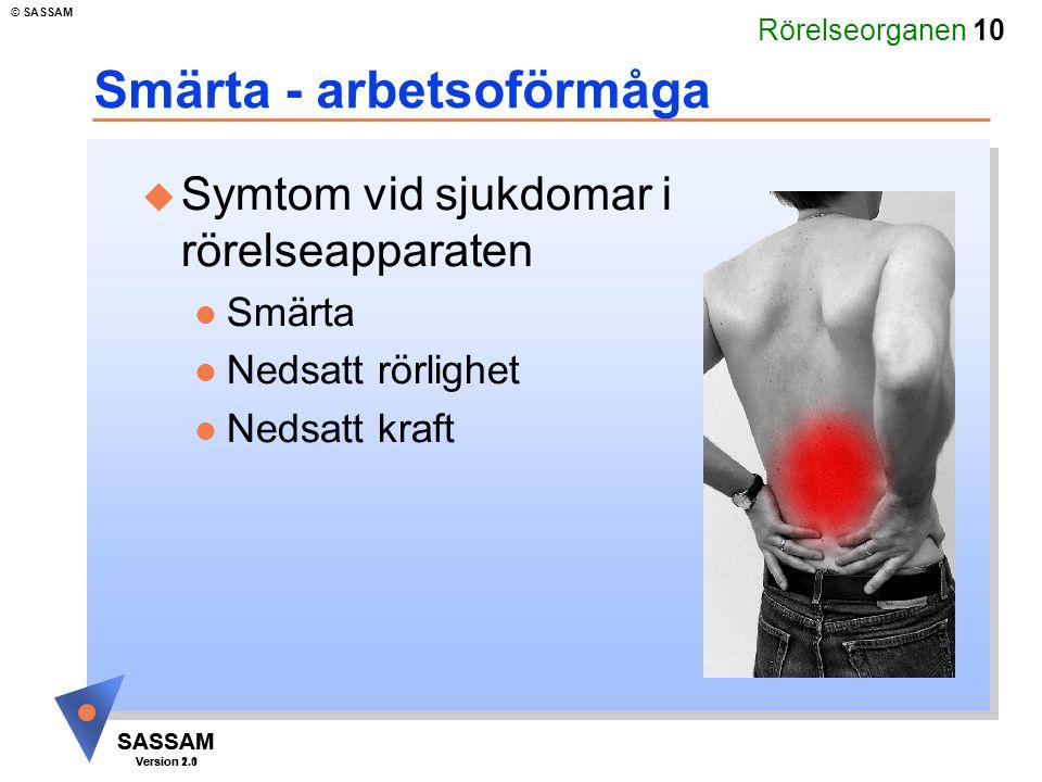 Rörelseorganen 10 SASSAM Version 1.1 © SASSAM SASSAM Version 2.0 Smärta - arbetsoförmåga u Symtom vid sjukdomar i rörelseapparaten l Smärta l Nedsatt