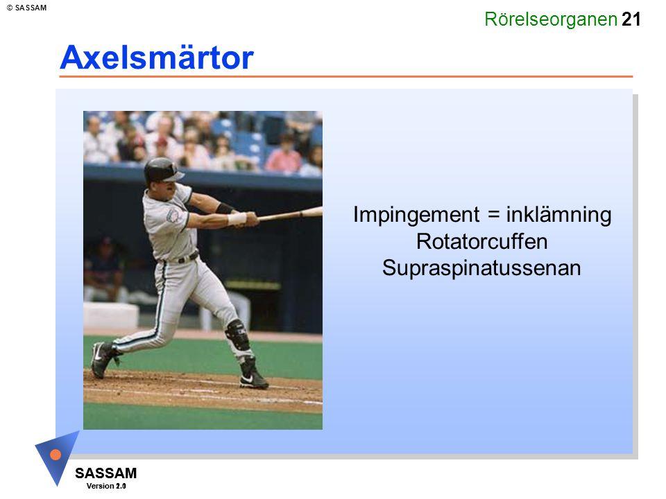 Rörelseorganen 21 SASSAM Version 1.1 © SASSAM SASSAM Version 2.0 Axelsmärtor Impingement = inklämning Rotatorcuffen Supraspinatussenan