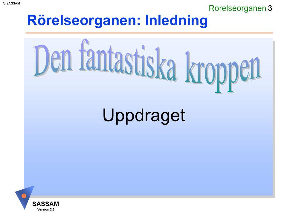 Rörelseorganen 3 SASSAM Version 1.1 © SASSAM SASSAM Version 2.0 Uppdraget Rörelseorganen: Inledning