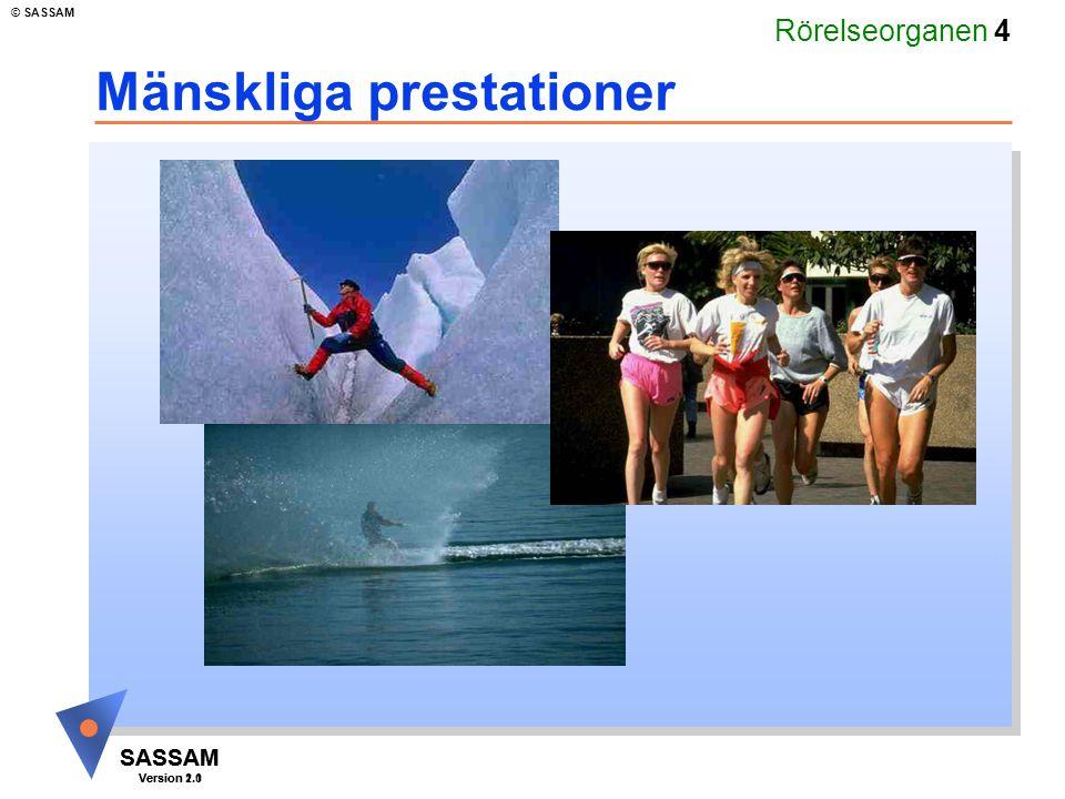 Rörelseorganen 4 SASSAM Version 1.1 © SASSAM SASSAM Version 2.0 Mänskliga prestationer