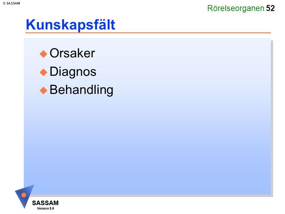 Rörelseorganen 52 SASSAM Version 1.1 © SASSAM SASSAM Version 2.0 Kunskapsfält u Orsaker u Diagnos u Behandling