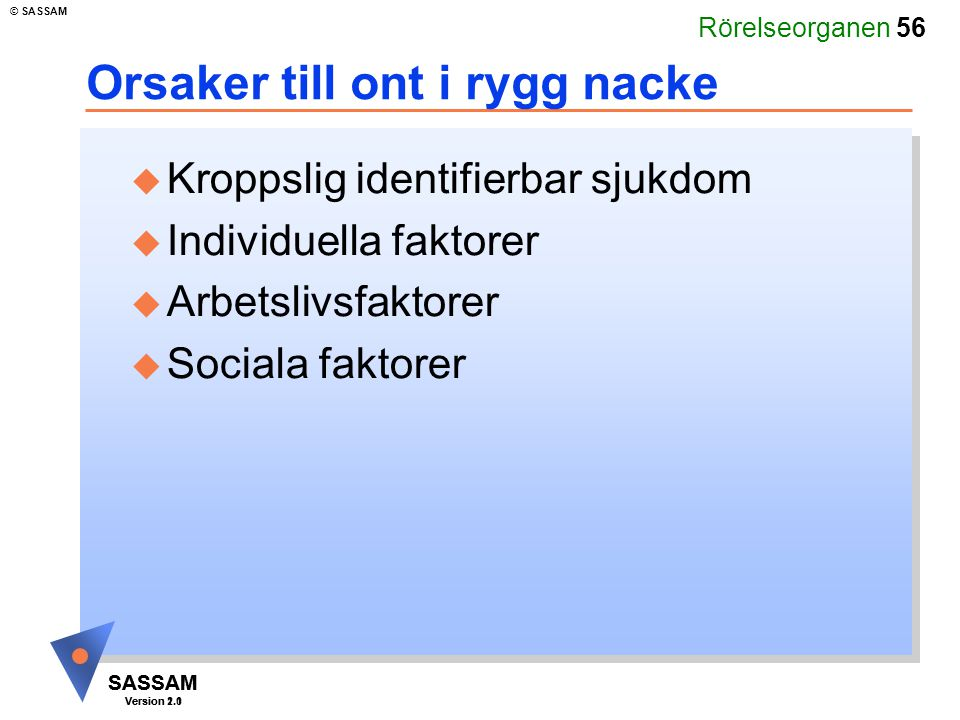 Rörelseorganen 56 SASSAM Version 1.1 © SASSAM SASSAM Version 2.0 Orsaker till ont i rygg nacke u Kroppslig identifierbar sjukdom u Individuella faktor