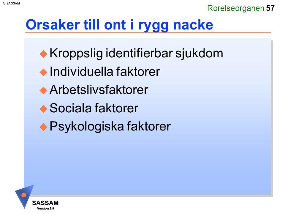Rörelseorganen 57 SASSAM Version 1.1 © SASSAM SASSAM Version 2.0 Orsaker till ont i rygg nacke u Kroppslig identifierbar sjukdom u Individuella faktor