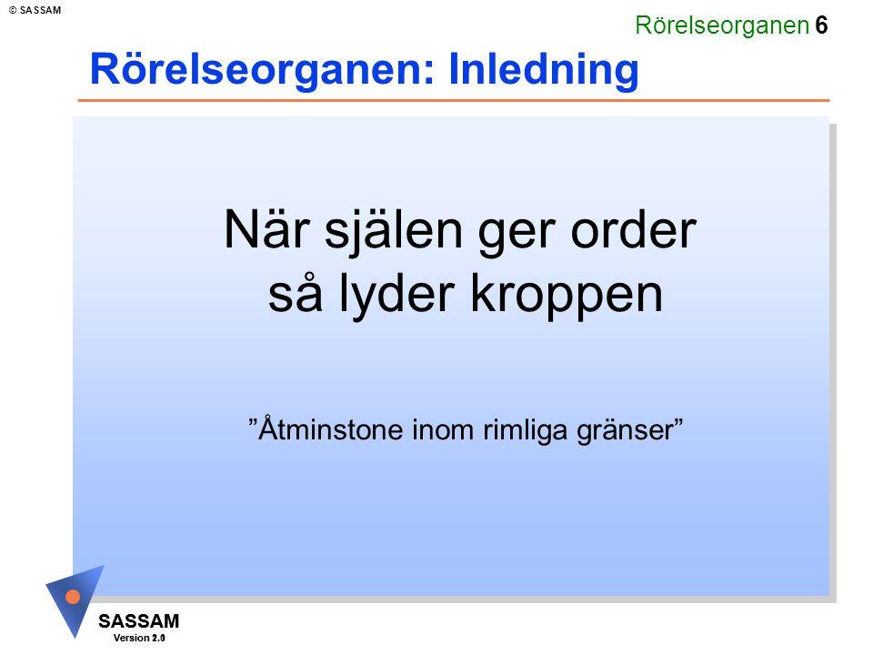 """Rörelseorganen 6 SASSAM Version 1.1 © SASSAM SASSAM Version 2.0 När själen ger order så lyder kroppen """"Åtminstone inom rimliga gränser"""" Rörelseorganen"""