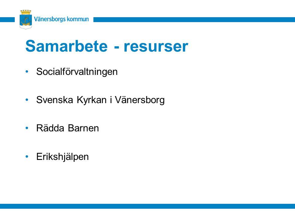 Samarbete - resurser Socialförvaltningen Svenska Kyrkan i Vänersborg Rädda Barnen Erikshjälpen