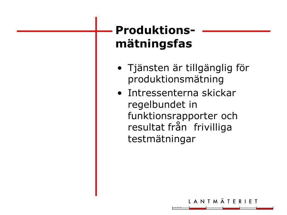 Produktions- mätningsfas Tjänsten är tillgänglig för produktionsmätning Intressenterna skickar regelbundet in funktionsrapporter och resultat från fri