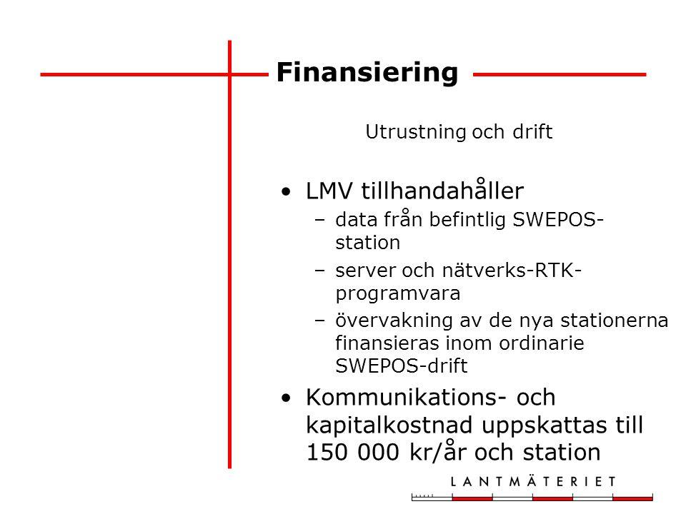 Finansiering Utrustning och drift LMV tillhandahåller –data från befintlig SWEPOS- station –server och nätverks-RTK- programvara –övervakning av de ny