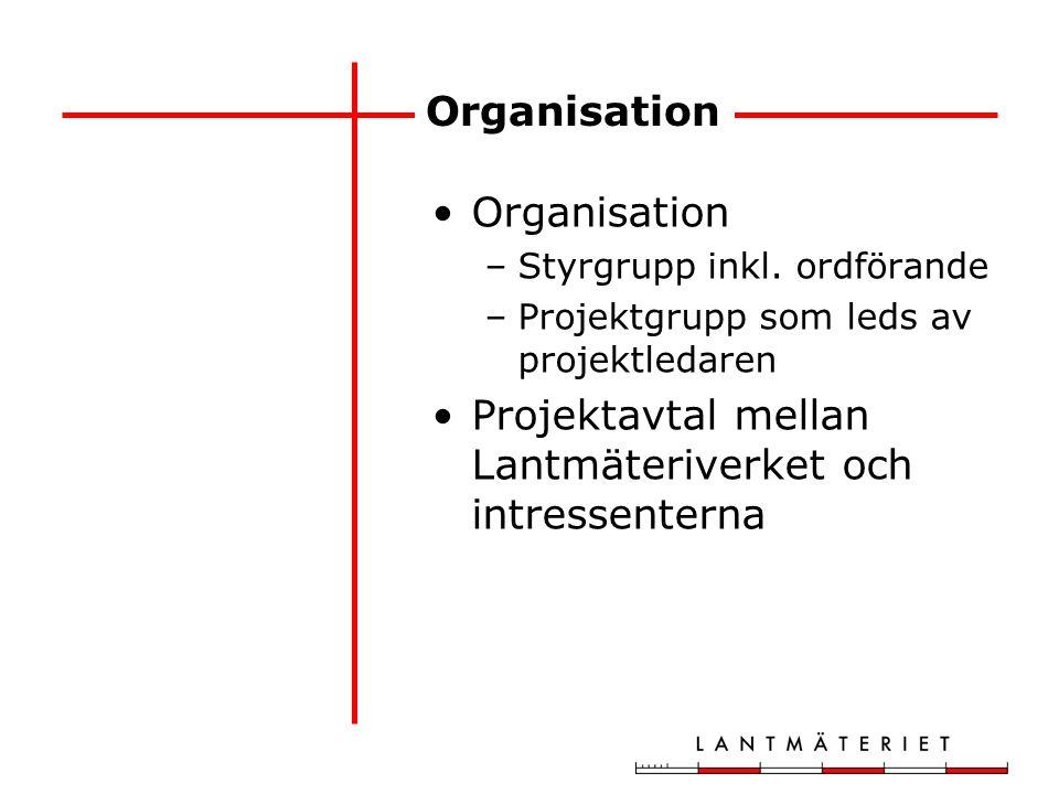 Organisation –Styrgrupp inkl. ordförande –Projektgrupp som leds av projektledaren Projektavtal mellan Lantmäteriverket och intressenterna