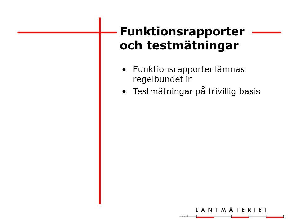 Funktionsrapporter och testmätningar Funktionsrapporter lämnas regelbundet in Testmätningar på frivillig basis