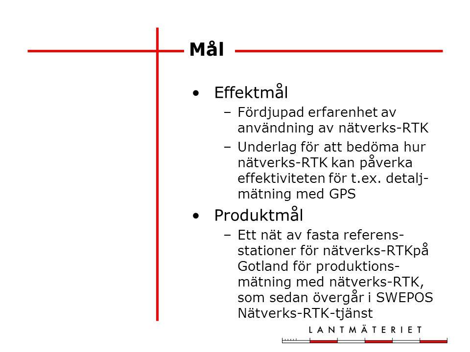 Mål Effektmål –Fördjupad erfarenhet av användning av nätverks-RTK –Underlag för att bedöma hur nätverks-RTK kan påverka effektiviteten för t.ex. detal