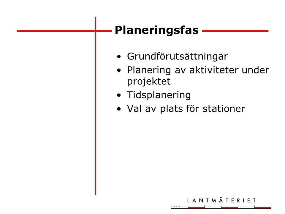 Planeringsfas Grundförutsättningar Planering av aktiviteter under projektet Tidsplanering Val av plats för stationer