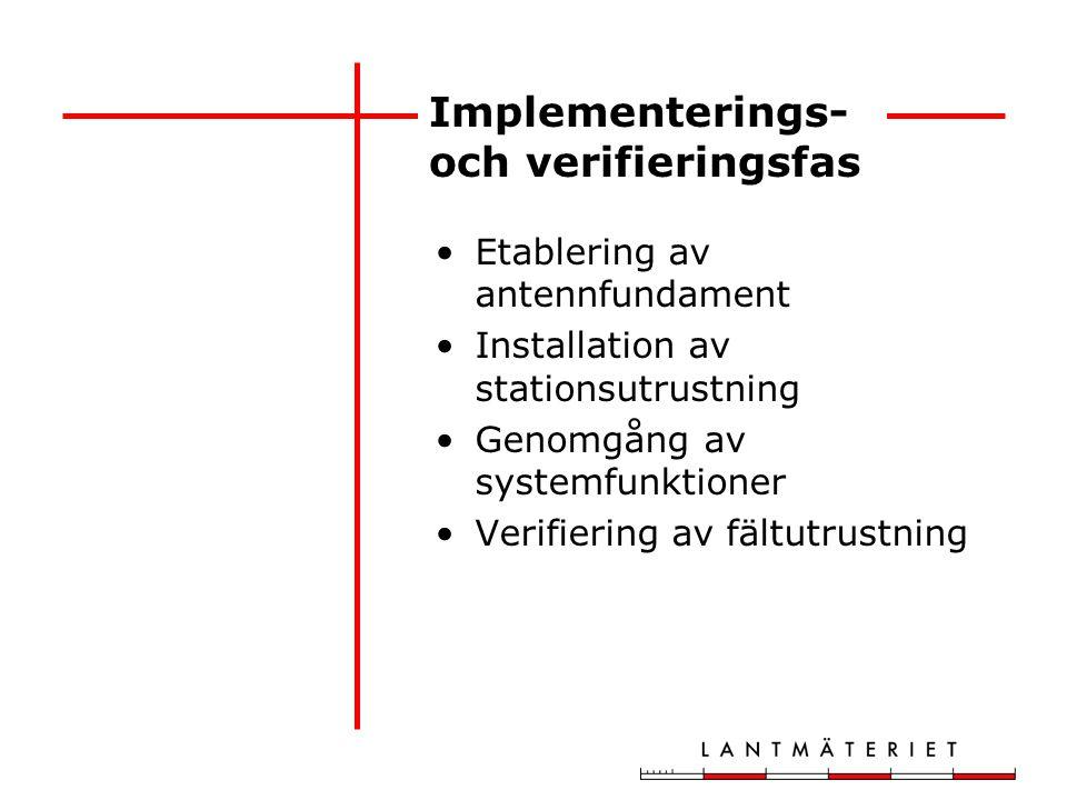 Implementerings- och verifieringsfas Etablering av antennfundament Installation av stationsutrustning Genomgång av systemfunktioner Verifiering av fäl
