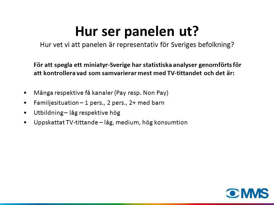 Hur ser panelen ut. Hur vet vi att panelen är representativ för Sveriges befolkning.