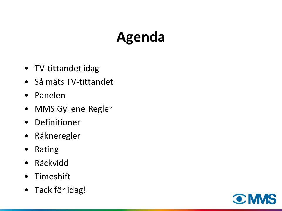 Agenda TV-tittandet idag Så mäts TV-tittandet Panelen MMS Gyllene Regler Definitioner Räkneregler Rating Räckvidd Timeshift Tack för idag!