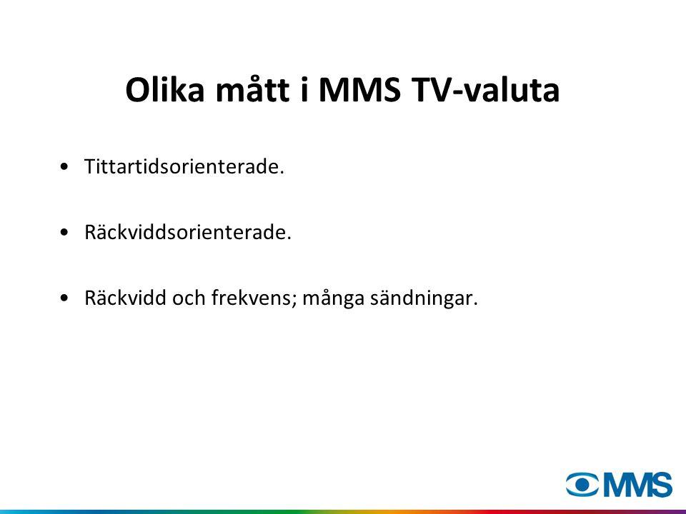 Olika mått i MMS TV-valuta Tittartidsorienterade. Räckviddsorienterade. Räckvidd och frekvens; många sändningar.