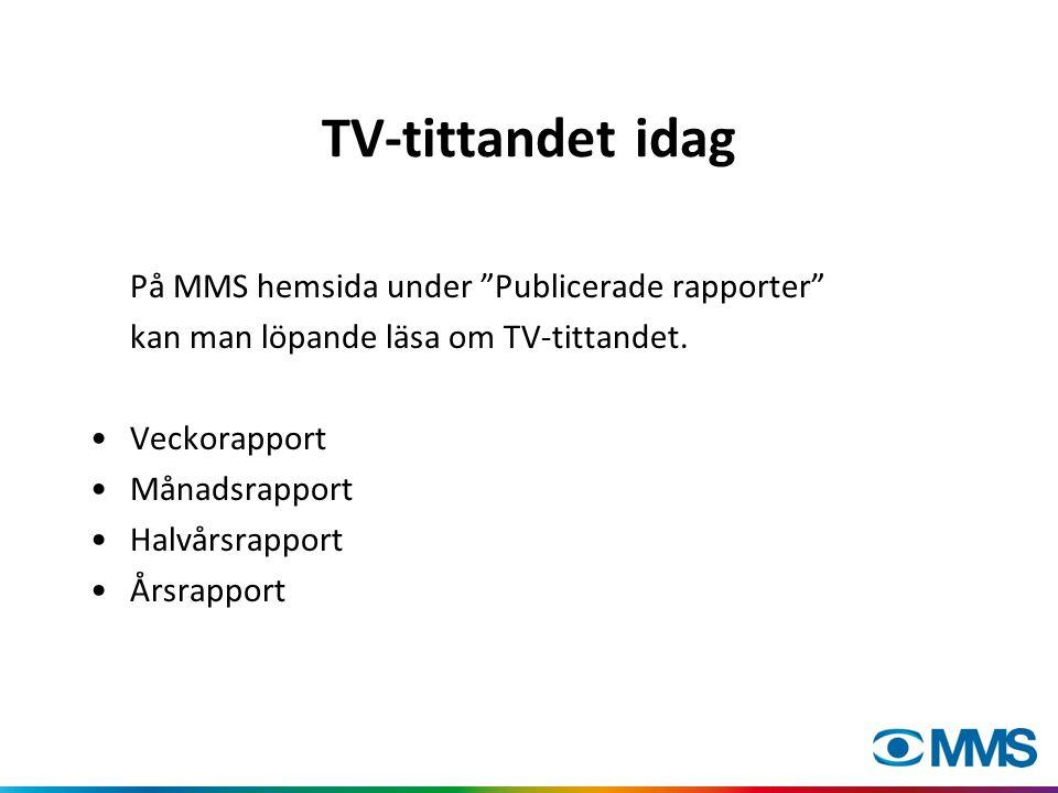 """TV-tittandet idag På MMS hemsida under """"Publicerade rapporter"""" kan man löpande läsa om TV-tittandet. Veckorapport Månadsrapport Halvårsrapport Årsrapp"""