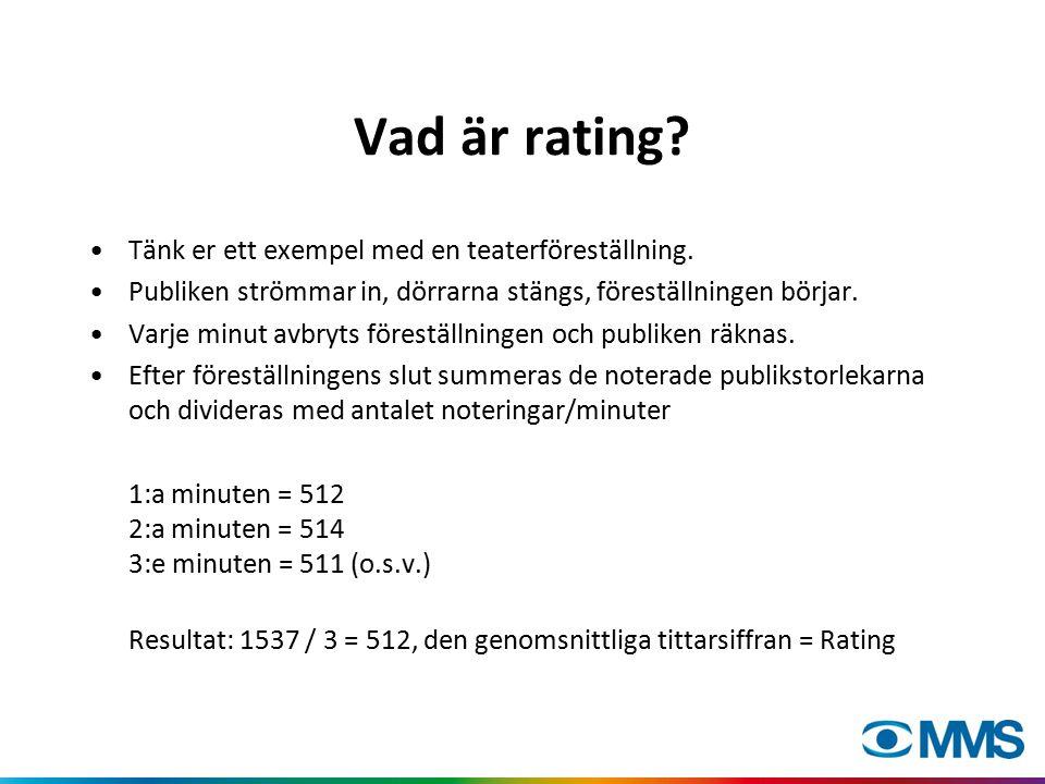 Vad är rating? Tänk er ett exempel med en teaterföreställning. Publiken strömmar in, dörrarna stängs, föreställningen börjar. Varje minut avbryts före