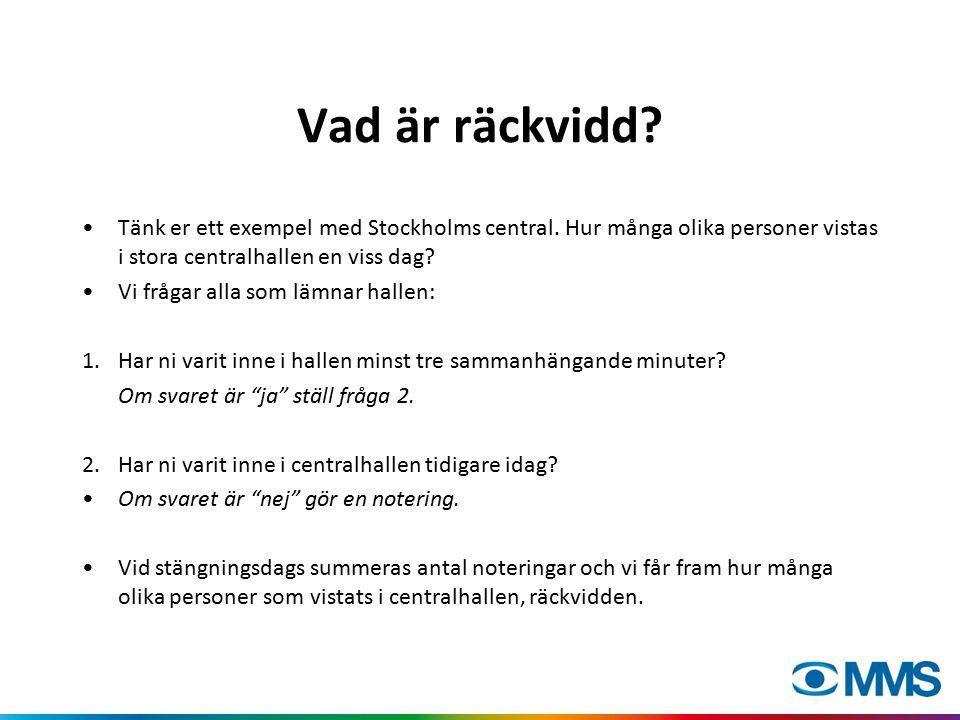 Vad är räckvidd? Tänk er ett exempel med Stockholms central. Hur många olika personer vistas i stora centralhallen en viss dag? Vi frågar alla som läm
