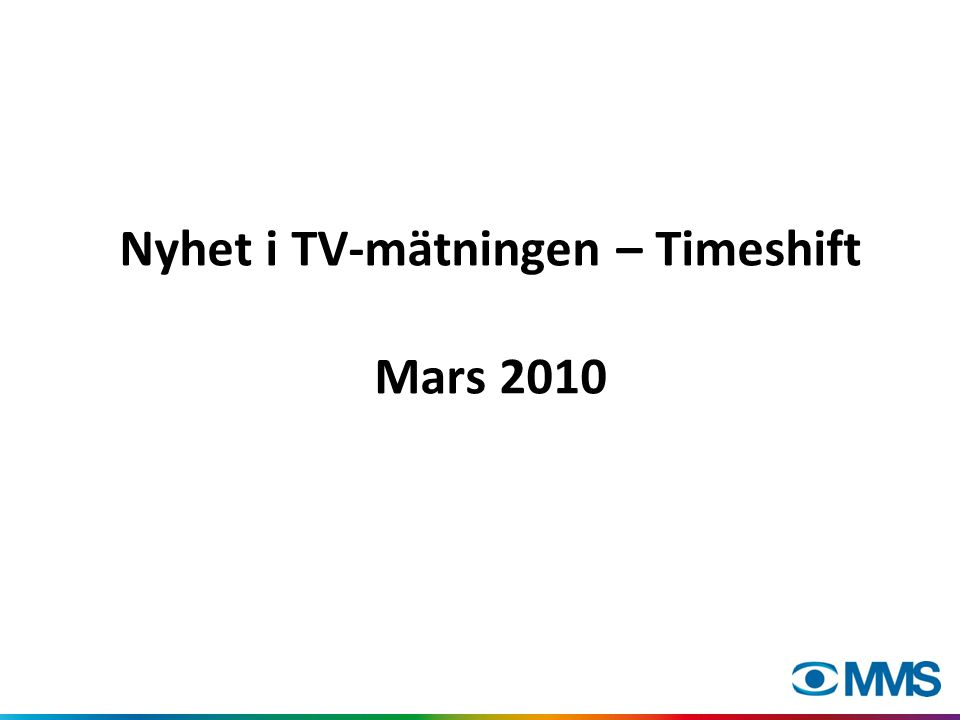 Nyhet i TV-mätningen – Timeshift Mars 2010