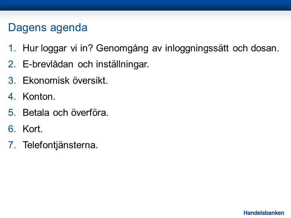 Dagens agenda 1.Hur loggar vi in? Genomgång av inloggningssätt och dosan. 2.E-brevlådan och inställningar. 3.Ekonomisk översikt. 4.Konton. 5.Betala oc