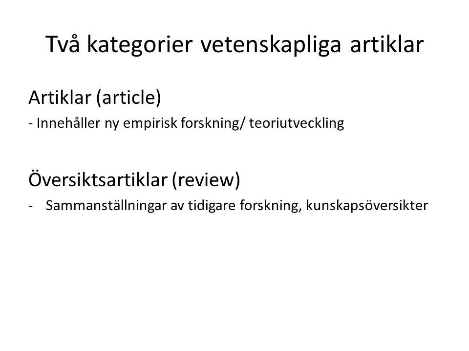 Två kategorier vetenskapliga artiklar Artiklar (article) - Innehåller ny empirisk forskning/ teoriutveckling Översiktsartiklar (review) -Sammanställni