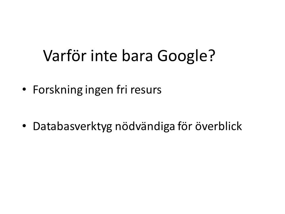 Varför inte bara Google? Forskning ingen fri resurs Databasverktyg nödvändiga för överblick