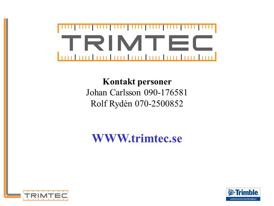Kontakt personer Johan Carlsson 090-176581 Rolf Rydèn 070-2500852 WWW.trimtec.se