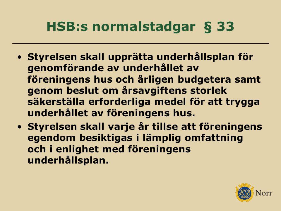 HSB:s normalstadgar § 33 Styrelsen skall upprätta underhållsplan för genomförande av underhållet av föreningens hus och årligen budgetera samt genom beslut om årsavgiftens storlek säkerställa erforderliga medel för att trygga underhållet av föreningens hus.