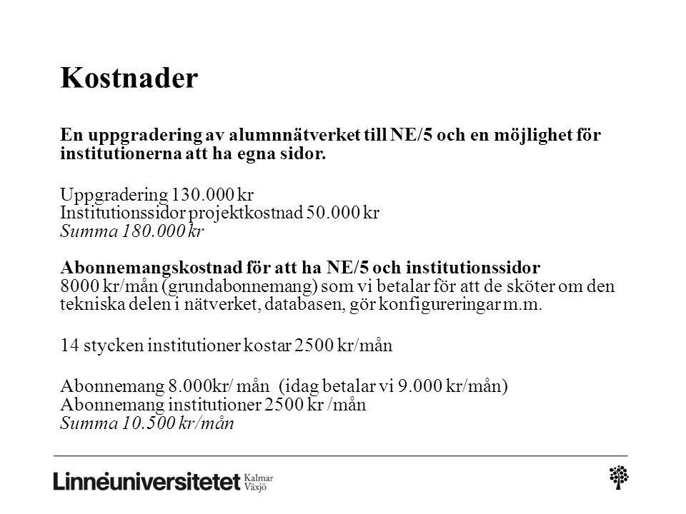 Kostnader En uppgradering av alumnnätverket till NE/5 och en möjlighet för institutionerna att ha egna sidor.