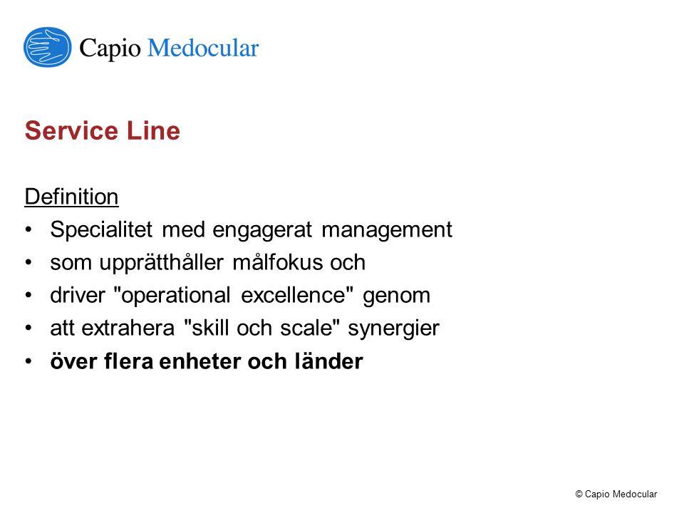© Capio Medocular Service Line Definition Specialitet med engagerat management som upprätthåller målfokus och driver