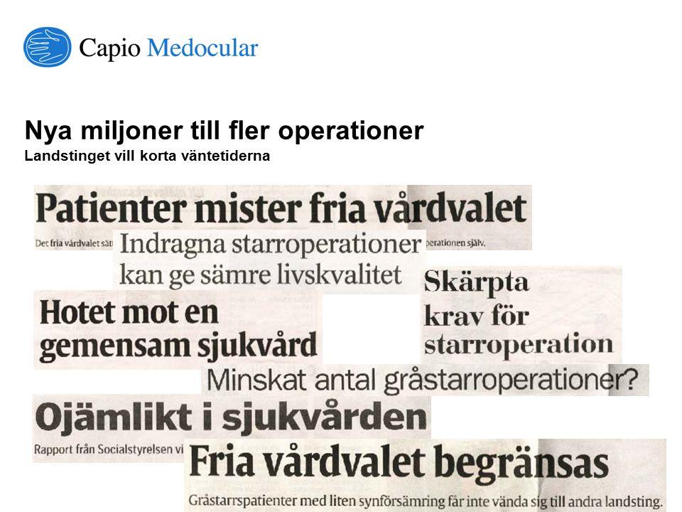 © Capio Medocular Nya miljoner till fler operationer Landstinget vill korta väntetiderna