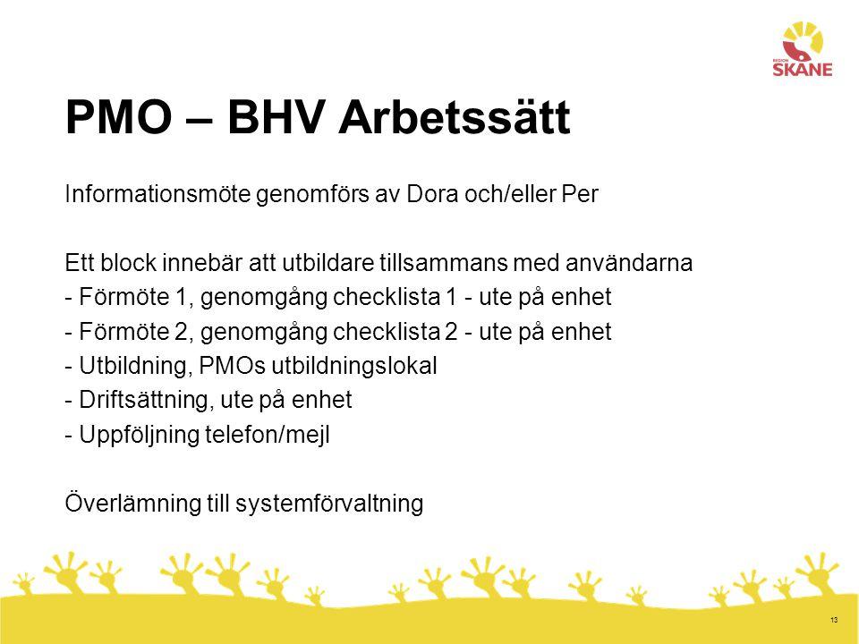 13 PMO – BHV Arbetssätt Informationsmöte genomförs av Dora och/eller Per Ett block innebär att utbildare tillsammans med användarna - Förmöte 1, genom