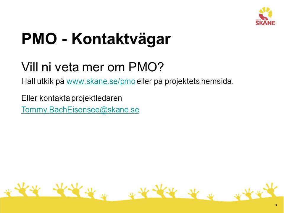 14 PMO - Kontaktvägar Vill ni veta mer om PMO? Håll utkik på www.skane.se/pmo eller på projektets hemsida.www.skane.se/pmo Eller kontakta projektledar