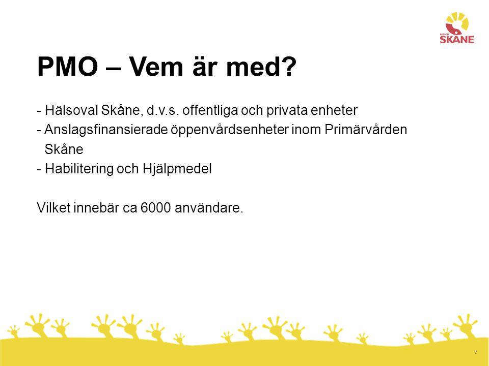 7 PMO – Vem är med? - Hälsoval Skåne, d.v.s. offentliga och privata enheter - Anslagsfinansierade öppenvårdsenheter inom Primärvården Skåne - Habilite