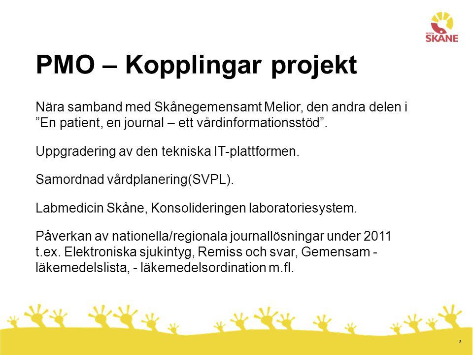 """8 PMO – Kopplingar projekt Nära samband med Skånegemensamt Melior, den andra delen i """"En patient, en journal – ett vårdinformationsstöd"""". Uppgradering"""