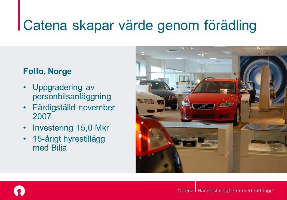 Catena skapar värde genom förädling Follo, Norge Uppgradering av personbilsanläggning Färdigställd november 2007 Investering 15,0 Mkr 15-årigt hyrestillägg med Bilia
